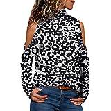 Beikoard_Ropa de mujer,Moda para Mujer Alto Cuello Cuello Leopardo Estampado Leopardo...