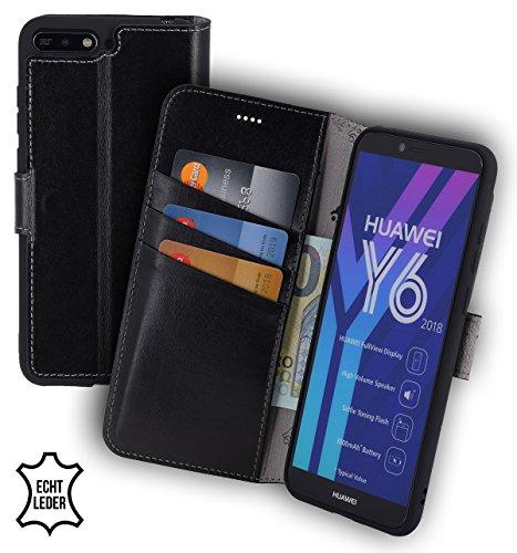 Suncase Huawei Y6 (2018) Book-Style (Slim-Fit) Ledertasche Leder Tasche Handytasche Schutzhülle Case Hülle (mit Standfunktion und Kartenfach - Bruchfester Innenschale) schwarz