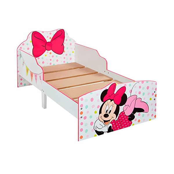 Hello Home Minnie Mouse Toddler Bed with Underbed Storage, Wood, White, 142 x 77 x 63 cm  Perfect for transitioning your little one from cot to first big bed The perfect size for toddlers, low to the ground with protective side guards to keep your little one safe and snug Two handy underbed, fabric storage drawers 6