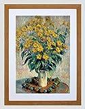 CLAUDE MONET FRENCH JERUSALEM ARTICHOKE FLOWERS FRAMED ART PRINT MOUNT B12X5158