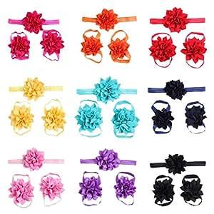Lovinglove 10 Colors Baby Girls Foot Flower Barefoot Sandals Headbands Set--10 Packed