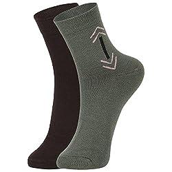 DUKK Men's Brown & Green Ankle Length Cotton Lycra Socks (Pack of 2)