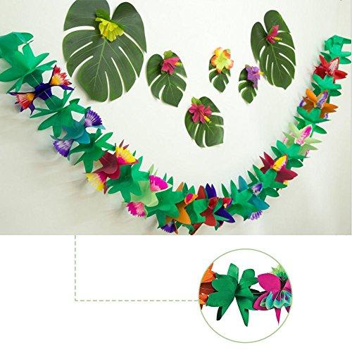 Bloomma 3M Long Hawaii Garland Flower Leaves Banner multicolor de papel multicolor para decoraciones de fiesta, cumpleaños, suministros para eventos, festivales, niños y adultos