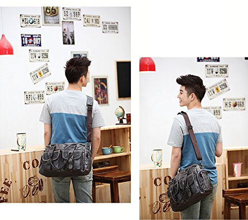 Everdoss Hommes sac à main en cuir véritable sac de bagage sac à bandoulière sac de voyage sac de loisirs café foncé