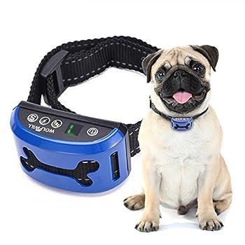 WOLFWILL Collier Anti-aboiement Collier de Dressage Etanche Rechargeable Ecran LCD avec Mode Bip / Bip &Choc /Bip &Vibration /Bip&Choc &Vibration