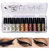 Allbestaye 10 pcs diamant paillettes eyeliner liquide set miroitement métallique Kit de maquillage étanche fard à paupières