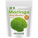 Moringa 250g Blattpulver Oleifera Premium Plus, Vegan, zertifiziert und kontrolliert (1x250g Pulver)
