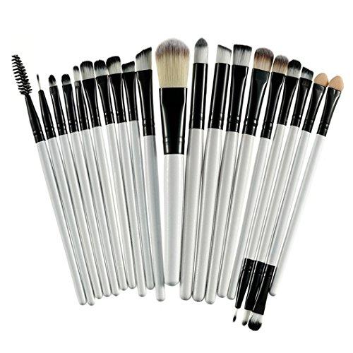20 Pcs professionelle Make-up-Bürsten Set Textmarker Foundation Lidschatten Brow Brush für Make-up-Blending Brush Set Schwarz und Weiß