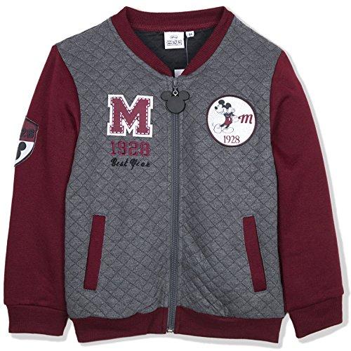 Disney Mickey Mouse Boys Warm Jumper, Baseball Quilted Jacket Sweatshirt - Burgundy 4