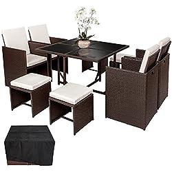 TecTake Conjunto muebles de jardín en ratán sintético comedor juego 4+4+1 + funda completa | tornillos de acero inoxidable | antiguo