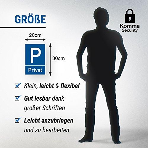 Parkplatz Schild Privat (blau, 20 x 30cm), Hinweisschild Privatparkplatz, Privatgrundstück, Parkplatzschild Reserviert – Parkplatz freihalten, vermietet, Parkverbot für Falschparker - 2