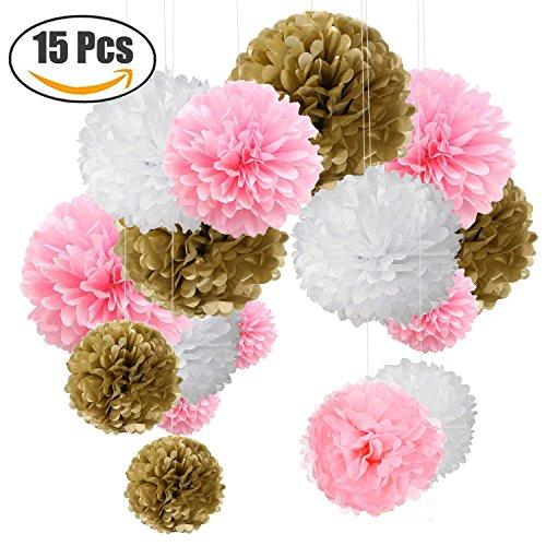 o Bunt Seidenpapier Pompons für Hochzeit, Geburtstag, Party Gold Rosa Weiß (3pcs*30.5cm/6pcs*25cm/6pcs*15.5cm) (Gold-und Rosa-party)