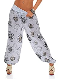 439d6bc5aace Zarmexx Damen Pumphose Pluderhose Harem-Stil Sommerhose All Over Print  Freizeithose Aladinhose Hose One Size