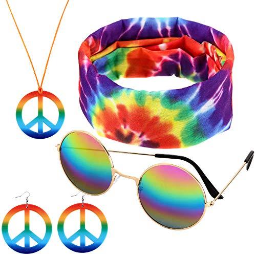 4 Stücke Zubehör Hippie Kostüme Set, mit Frieden Zeichen Halskette, Sonnenbrille, Ohrringen und Stirnband für Damen und - Hippie Kostüm Für Jugendliche