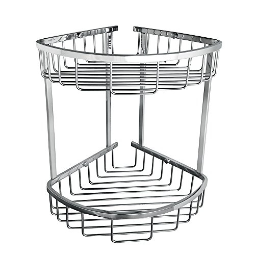 Sayayo Basket Shelf Duschcaddy 2-Tier Korb Wandmontage, Edelstahl poliert verchromt, EG7162 (2-tier-korb)