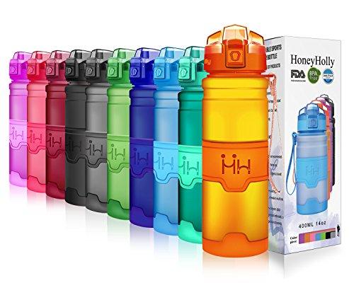 HoneyHolly Sport Trinkflasche - 17oz / 500ml - BPA frei dicht und umweltfreundlich - Für Gym, Laufen, Yoga, Camping, Outdoor, Männer, Frauen & Kinder - One Handed Open & Tritan Trinkflaschen aus Kunststoff mit Filter (0.5 Liter, Matte Orange)