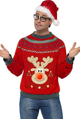 *Smiffys, Herren Weihnachtspullover Kostüm, Pullover, Größe: L, 23058*