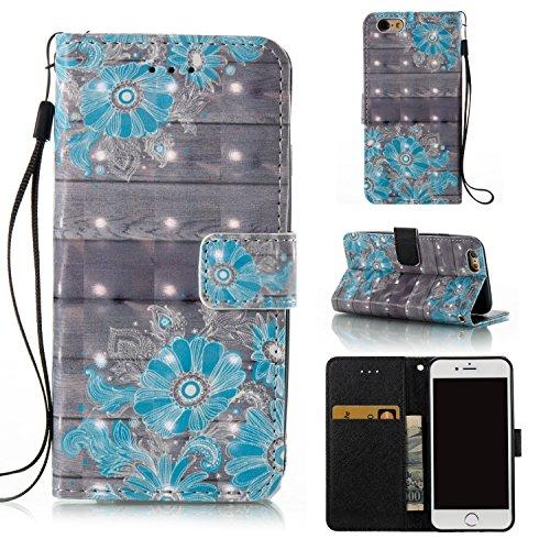 Qiaogle Téléphone Coque - PU Cuir rabat Wallet Housse Case pour Apple iPhone 5 / 5G / 5S / 5SE (4.0 Pouce) - YB58 / Bleu Attrapeur de rêves YB53 / Bleu fleur