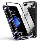 Funda para iPhone 8 Plus, Funda para iPhone 7 Plus, ZHIKE Funda de Adsorción Magnética Súper Delgada Marco de Metal de Vidrio Templado con Cubierta Magnética Incorporada [Admite Carga Inalámbrica] para Apple iPhone 7 Plus/8 Plus (Negro Claro)