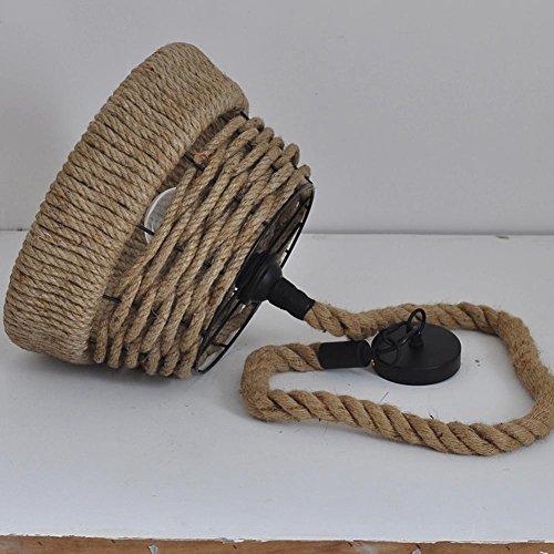 BJVB Canapa industriale mano-maglia corda Lampadario in ferro battuto Birdcage tondo Base Edison lampadina . 38cm