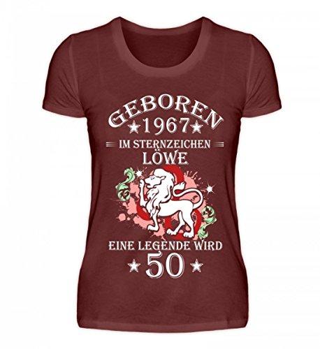 Shirtee Hochwertiges Damen Premiumshirt - Sternzeichen Löwe Wird 50 Weinrot