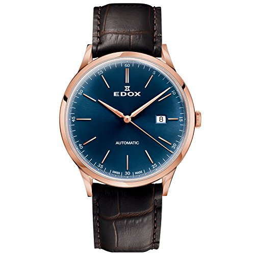 Edox Men's Les Vauberts 42mm Leather Band Automatic Watch 80106 37RC BUIR