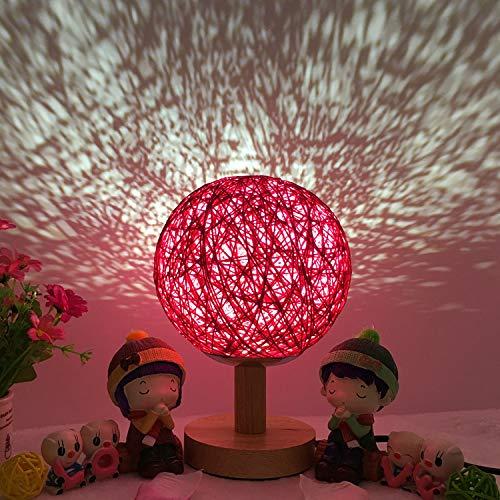 Nachtlicht, das Schnurballrattanball-Tischlampe 15CM-rose rot-lange USB-Fernbedienungsstange verdunkelt (Pool-tisch Auf Rädern)