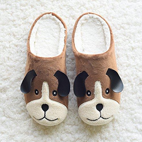 DogHaccd pantofole,Autunno e Inverno piscina Cartoon carino cucciolo di cane amanti pantofole home soggiorno scarpe scarpe di cotone scarpe caldo di spessore, antiscivolo Brown2