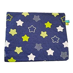 Sterne Blau Grün Creme Minky Fleece Babykissen Kissen Baby Kuschelkissen Buggy Kinderwagen Dünn gefüllt Super weich und flauschig Handarbeit Deutschland