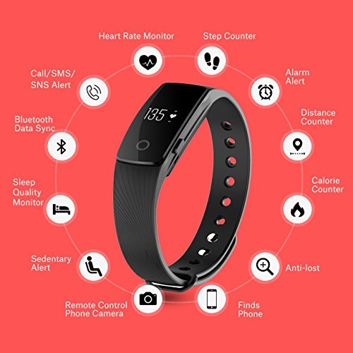 Fitness Tracker, Mpow Heart Rate Monitor Pedometer Smart Bracelet Bluetooth 4.0 Smart Fitness Band and Activity Tracker Smartwatch, Sleep Monitor / Remote Shoot, Calls / Texts / Sitting, Calorie Counter for Android IOS Smartphone