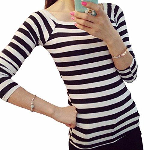 Internet Frauen nehmen Hülse gestreift langen Rundhals Shirt grundiert (M, (Gestreift Kostüm Weiß Leggings Und Schwarz)