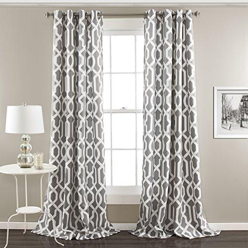 Lush Decor Edward-Gitter Verdunkeln Fenster Vorhang Panel Paar, grau, Panel Pair 95