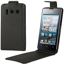 Case Funda Vertical Funda Con Tapa de Piel Sintética Para Huawei Y300 (Black)