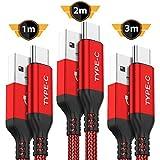 USB Typ C Kabel AKOADA [3 Stück 3M 2M 1M] Nylon Ladekabel für Samsung Galaxy S10 S9 S8 Plus,Note 9 8,A3 A5 2017,LG G5 G6 V20,HTC 10 U11,Sony Xperia XZ Xa1, Huawei Honor 8 9, P20 Lite P10 usw (Rot)