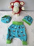 Babyset Pumphose, Mütze und Halstuch blau/grün Baufahrzeuge 1-4 Monat (56-68)