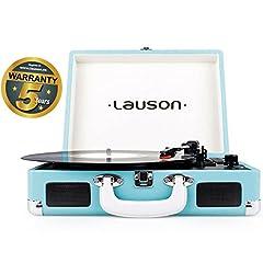 Idea Regalo - Lauson Giradischi Bluetooth   USB   Lettore Vinile Portatile   Altopartanti Integrati   RCA   CL604 (Azzurro)