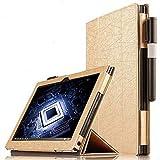 ROUHO Cuir D'Unité Centrale Pliante Housse Etui pour Lenovo Yoga Book Tablet-Or