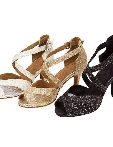 La mode moderne Sandales femmes personnalisables Ballroom Salsa Chaussures de danse Latine Salsa Glitter mousseux/Sandales/Personnalisé talons US4-4.5/EU34/UK2-2.5/CN33