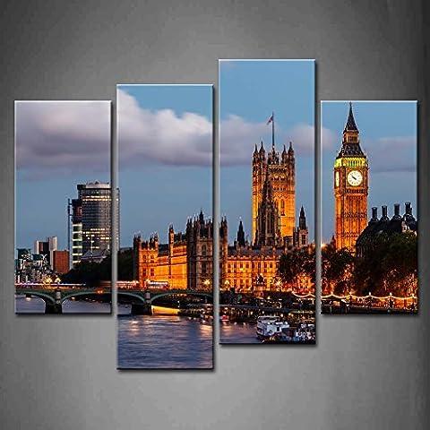 4 Panel Wall Art Big Ben And Westminster Bridge Evening