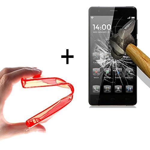 WoowCase | Flexible Gel Schutzhülle für [ HomTom HT5 ] [ +1 Schutzglas ] Hartglas, HomTom HT5 Hülle Case TPU Silikon in Rot