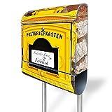 banjado - Individualisierter Briefkasten Standbriefkasten mit Standfuß und Motiv historischer Postkasten