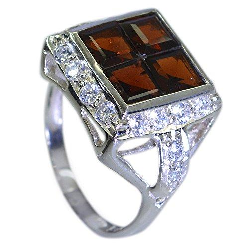 Gemsonclick Echt Granat Ring für Frauen Geschenk Silber Prinzessin Birthstone Cluster Stil Schmuck Größe P