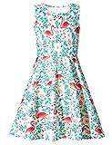 Adicreat Kinder Mädchen Kleid Rundhals Blumen Beiläufig Knielänge Sommerkleid- Gr. 4-5 Jahre (S), Flamingos