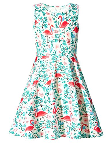 Funnycokid Mädchen Kleider Blau Cartoon Party Kinder Sommerkleid Flamingos 4-13 ()