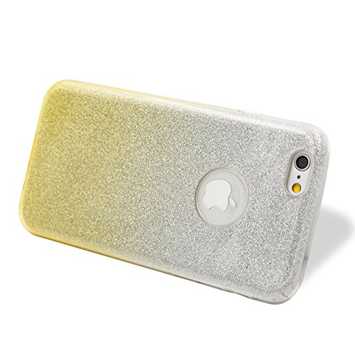 Custodia per iPhone 6/6S, Case Cover per iPhone 6/6S 4.7, [ Soft TPU + Glitter Paper + Hard PC ] 3 in 1 Hybrid Layers Protection Back Cover, Silm Thin (Verde) Skin Cases per Apple iPhone 6S 6 (4.7 in Giallo