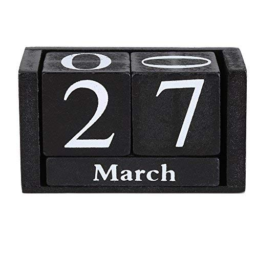 Fdit Vintage Wooden Calendar Desktop Time Concept Rustic Wood Perpetual Block Month Date Display Home Office Decoration (Black)