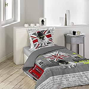 housse de couette 140 x 200 cm taie british style. Black Bedroom Furniture Sets. Home Design Ideas