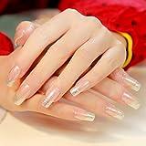 YUNAI 24pcs/set False Nails Transparent French Fake Nails Glitter Long Nail Design