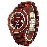 Bewell Man 's Armbanduhr Holz Uhren mit verstellbarem Armband 100AG ursächlichen Mode Quarz Armbanduhr