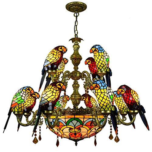 QMHG Pendelleuchte,Tiffany-Stil Kronleuchter,15 Armiger Papagei lampshade Vintage deko große Pendelleuchte, Decke Lampe für Bar Schlafzimmer Wohnzimmer